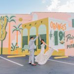 St. Pete wedding portraits in front of mural