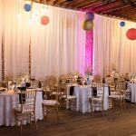 Reception at NOVA 535 with hanging Chinese lanterns and draping
