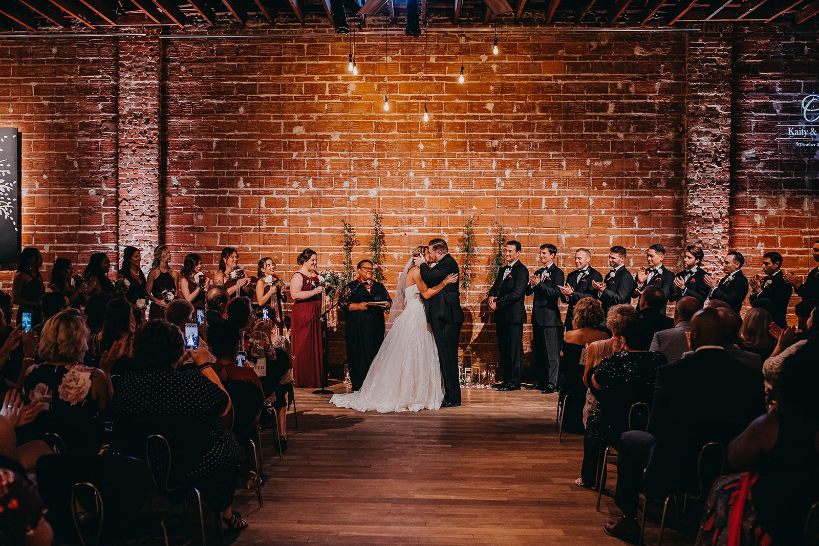 Romantic Burgundy industrial chic downtown St. Pete Florida wedding at historic venue NOVA 535