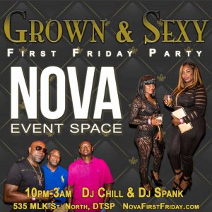 Historic wedding venue and unique event space NOVA 535 downtown St. Pete First Friday Flyer 1024 x 1024