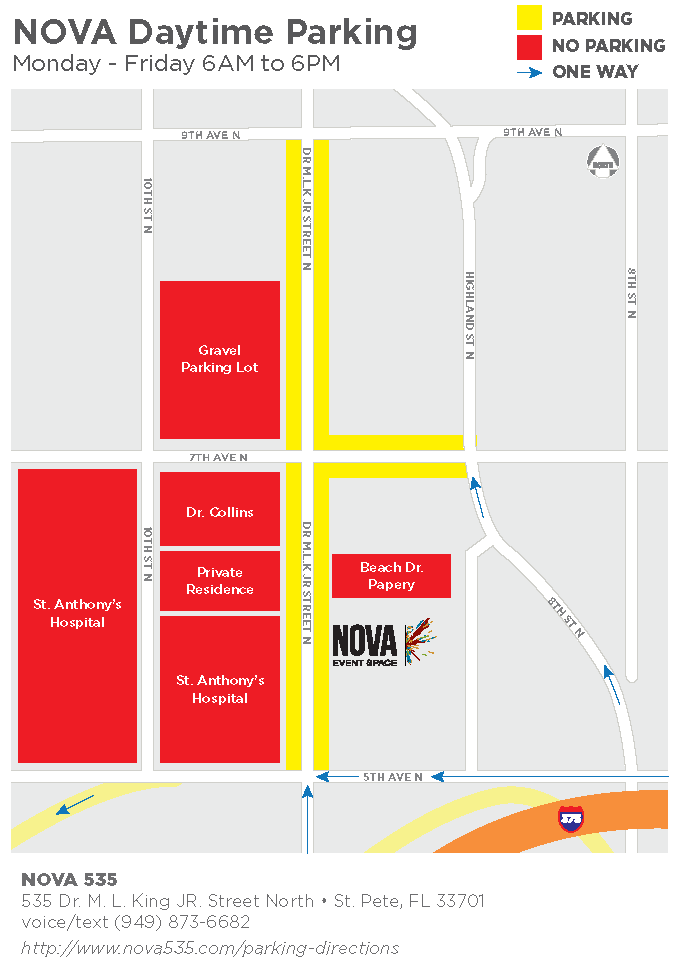 NOVA 535 daytime 6am to 6pm parking map