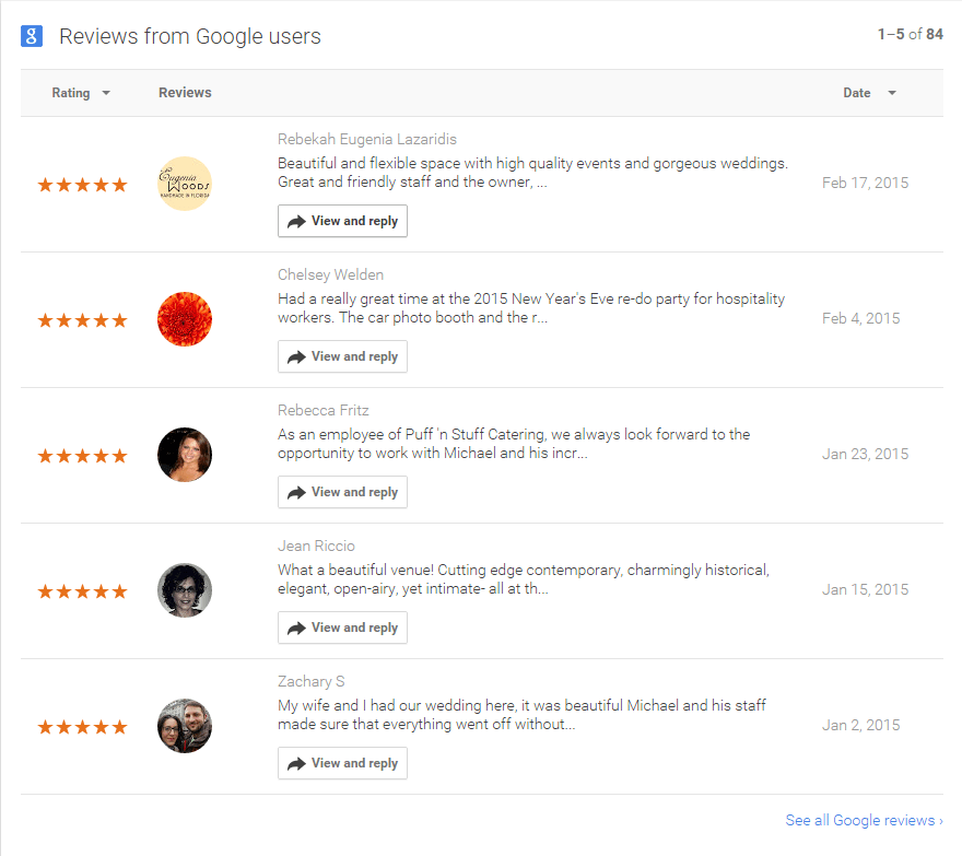 2015 02-24 Google-Reviews-of-NOVA535-StPete-Venue-Dashboard-testimonials