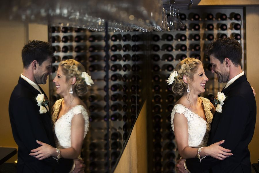 Bride and Groom Reflection Wedding Portrait | St. Petersburg Wedding Venue Nova 535
