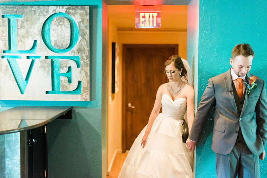 Bride and Groom First Touch Wedding Portrait | Downtown St. Pete Wedding Venue NOVA 535 Event Space