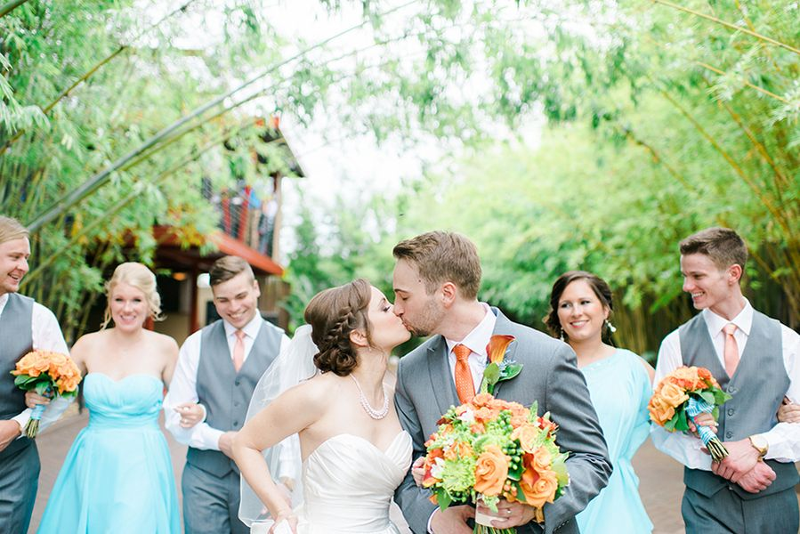 Bride and Groom Wedding Portrait with Bridal Party   Downtown St. Pete Wedding Venue NOVA 535 Event Space Bamboo Garden
