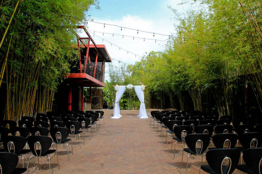 Outdoor Wedding Ceremony in Bamboo Garden | Outdoor downtown St. Petersburg wedding Venue NOVA 535
