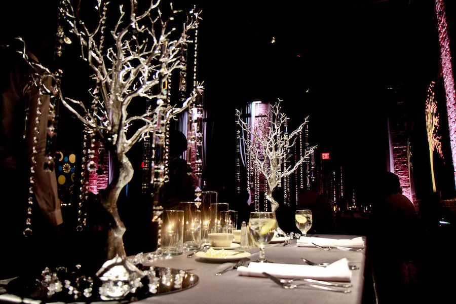Crystal Rhinestone Tree Centerpieces at Wedding Reception | Downtown St. Pete Wedding Venue NOVA 535