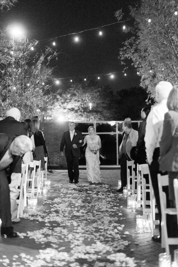 Outdoor, Nighttime St. Petersburg Wedding Ceremony Bride and Dad Walking Down Aisle | St. Pete Wedding Venue NOVA 535 | valentine's day inspired wedding