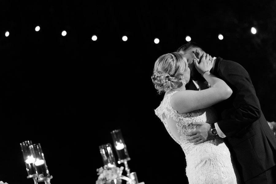 Bride and Groom Outdoor St. Petersburg Wedding Ceremony Kiss| St. Petersburg Wedding Photographer Caroline & Evan Photography
