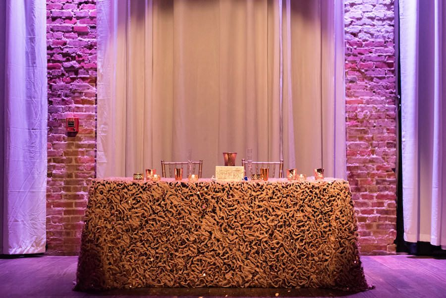Modern, Romantic Wedding Reception Sweetheart Table With Textured Linen, Golf Candles and Chiavari Chairs | Downtown St. Pete Wedding Venue NOVA 535 | valentine's day inspired wedding
