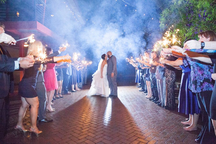 Bride and Groom Wedding Sparkler Exit in Bamboo Garden at Downtown St. Pete Wedding Venue NOVA 535 for a romantic st. petersburg wedding