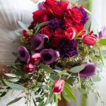 Red and Purple Wedding Bouquet with Greenery