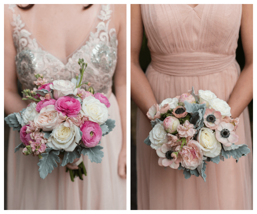 Ivory, Beaded Lace with Pink and White Floral Bouquet and Pink Bridesmaids Dress with Pale Pink and White Flower Bouquet