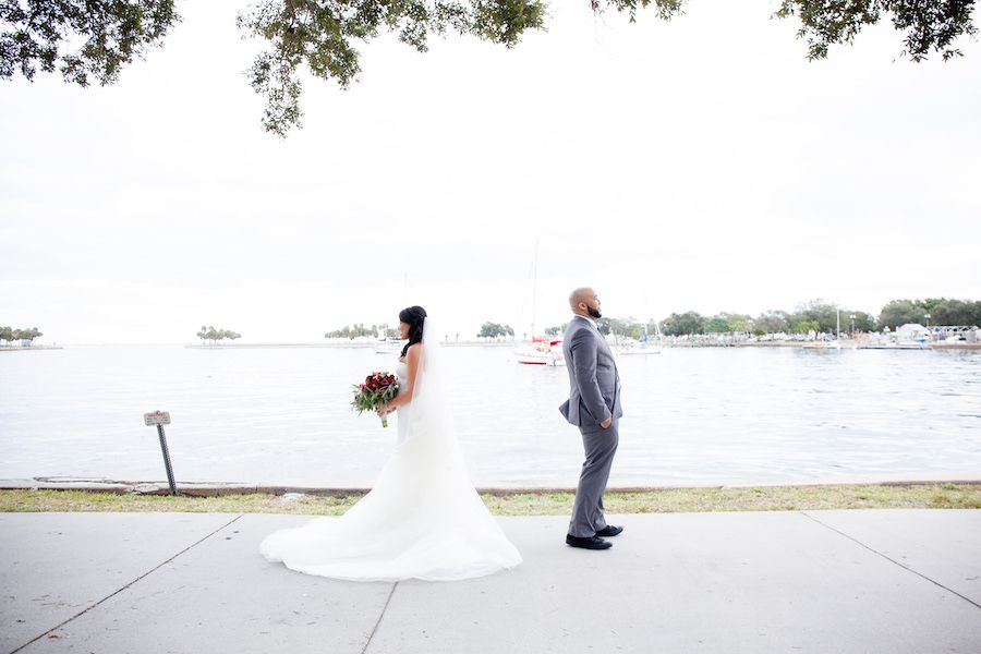 Downtown St. Pete Bride and Groom First Look Wedding Portrait