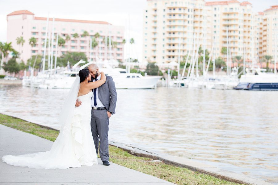 Downtown St. Pete Bride and Groom Wedding Portrait