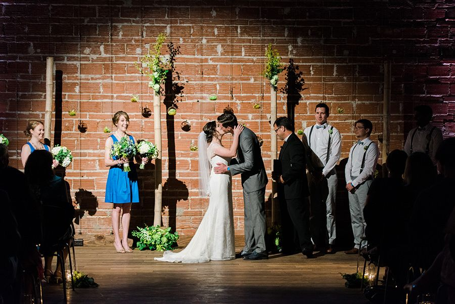 White and Green Wedding Ceremony Decor with Exposed Brick Wall | St. Petersburg Wedding Venue NOVA 535