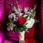 Red and Pink Wedding Bouquet with Greenery