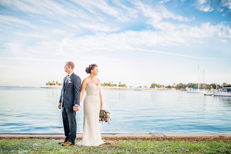 Bride and Groom Downtown St. Pete Wedding Portraits