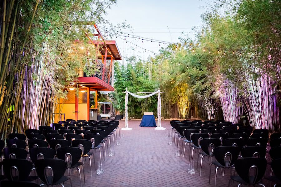 Outdoor Wedding Ceremony in Bamboo Garden | Modern, Unique Downtown St. Pete Wedding Venue NOVA 535 | outdoor st. pete wedding