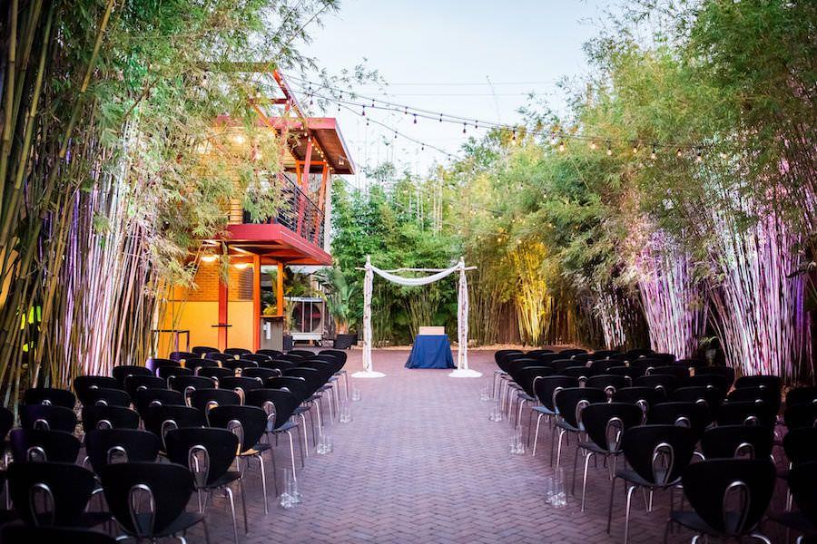 Outdoor Wedding Ceremony in Bamboo Garden | Modern, Unique Downtown St. Pete Wedding Venue NOVA 535 | outdoor st. pete wedding