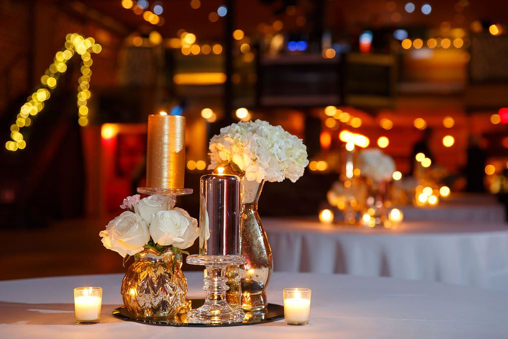 New Candles And Votives With White Ivory Rose Hydrangea Wedding Centerpieces On Mirrored Stands