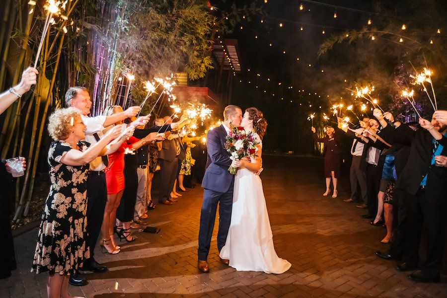 Bride and Groom Wedding Sparkler Exit | outdoor st. pete wedding