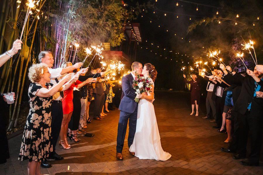 Bride and Groom Wedding Sparkler Exit | outdoor st. pete wedding