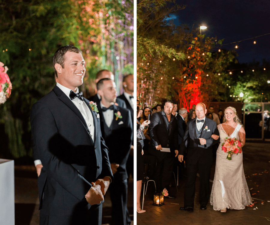 Outdoor, Nighttime Wedding Ceremony, Bride and Dad Walking Down Aisle, Groom Seeing Bride Walk Down the Aisle | St. Pete Wedding and Event Space NOVA 535