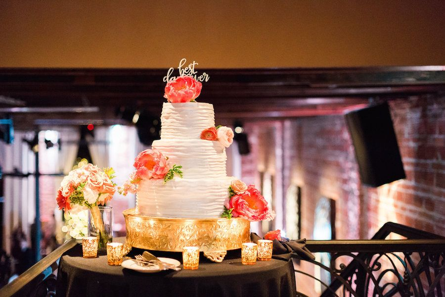 Three Tiered, Round White Wedding Cake with Coral Flower Accents