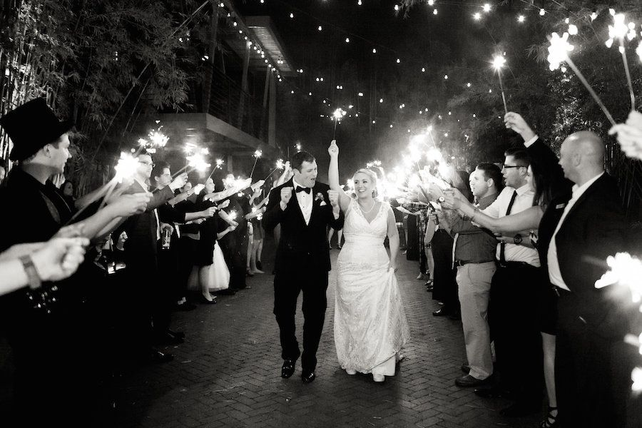 Bride and Groom St. Pete Sparkler Wedding Exit | St. Petersburg Wedding and Event Space NOVA 535