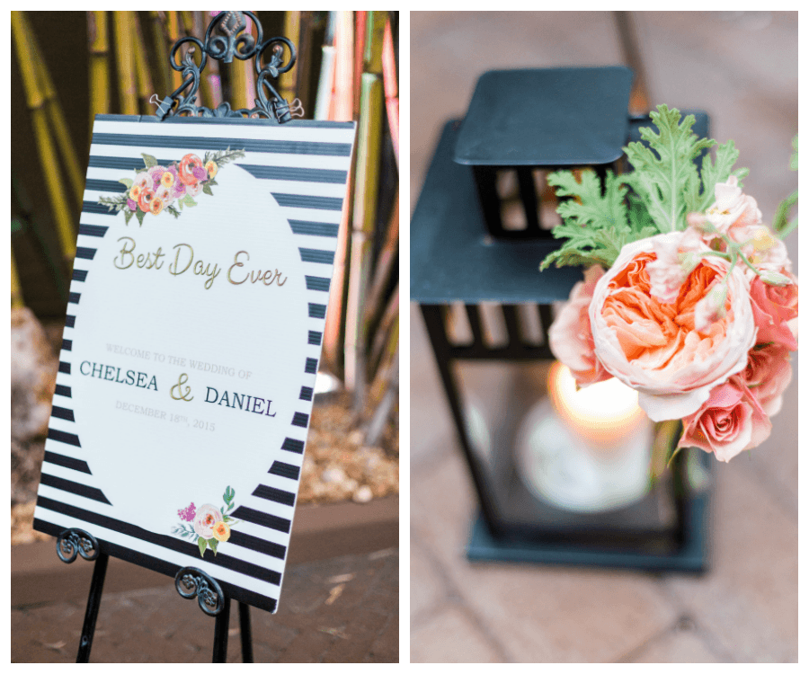 Black and White Best Day Ever Welcome Sign For St. Pete Wedding Ceremony and Coral Peony Accent Flowers with Black Lanterns