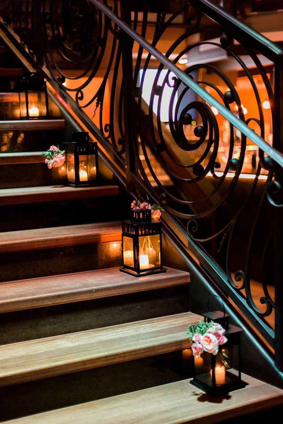 Wedding Staircase Decor with Coral Peony Accent Flowers with Black Lanterns