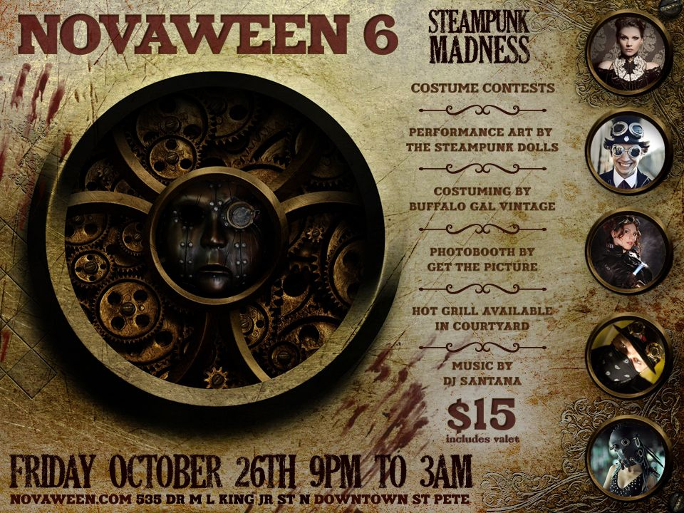A decade of tricks and treats in St. Pete - Novaween 6 October 26 2012 Steampunk Madness flyer