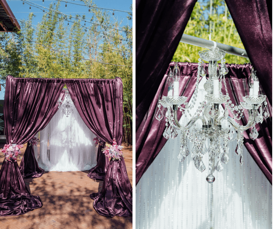 Flocked Purple Linen Wedding Arch Draping with Crystal Chandelier and Pink and White Floral Accents at St. Petersburg Wedding Ceremony Venue NOVA 535
