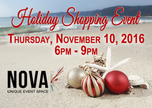 Holiday Shopping Event at NOVA 535 on Thursday November 10, 2016 6pm to 9pm in DTSP