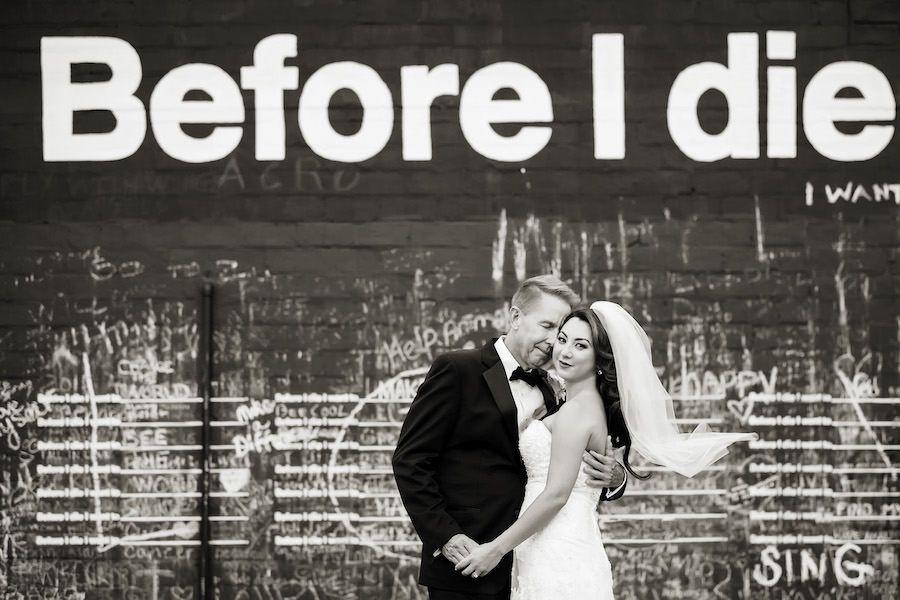 "Outdoor, Bride and Groom Wedding Portrait in front of "" Before I Die"" Chalkboard Mural"