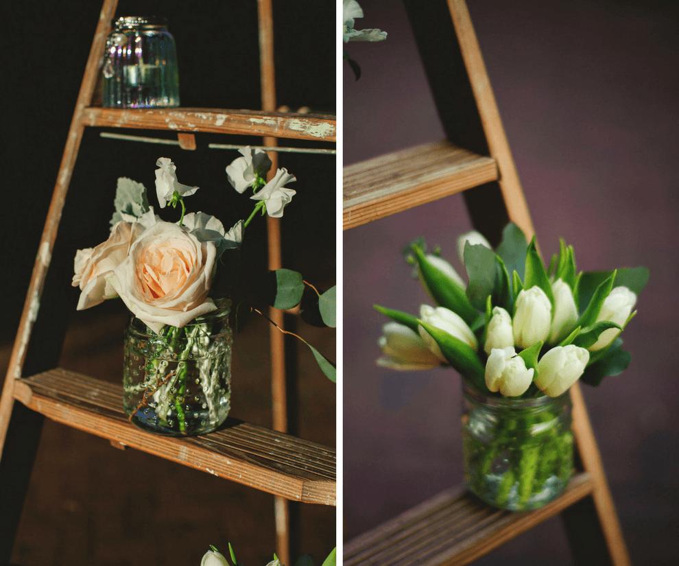 Blush Roses and Ivory Tulip Wedding Ceremony Decor on Ladder