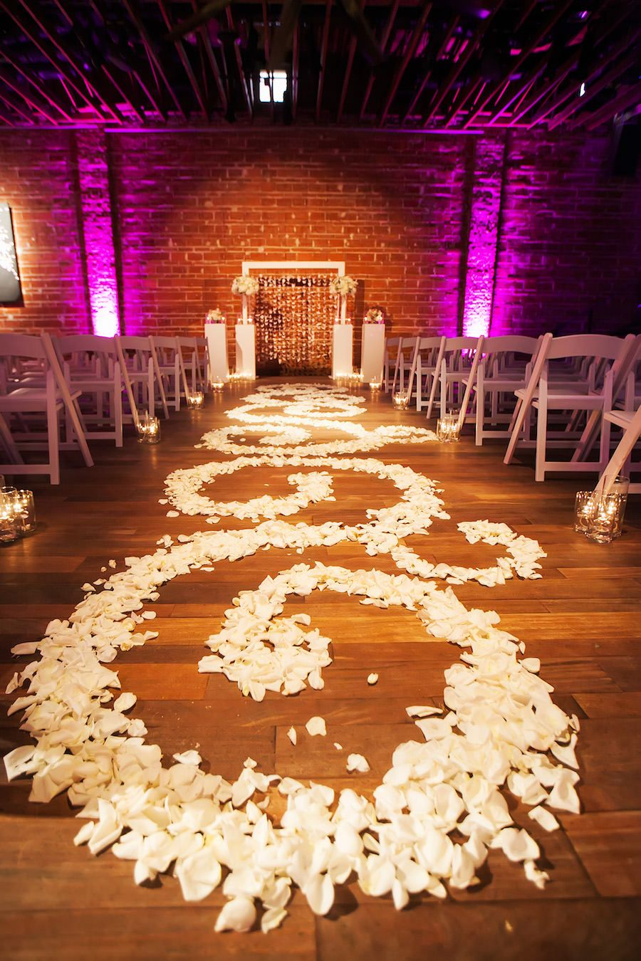 Floral Petal Design Down Wedding Ceremony Aisle at St. Petersburg Wedding Venue NOVA 535