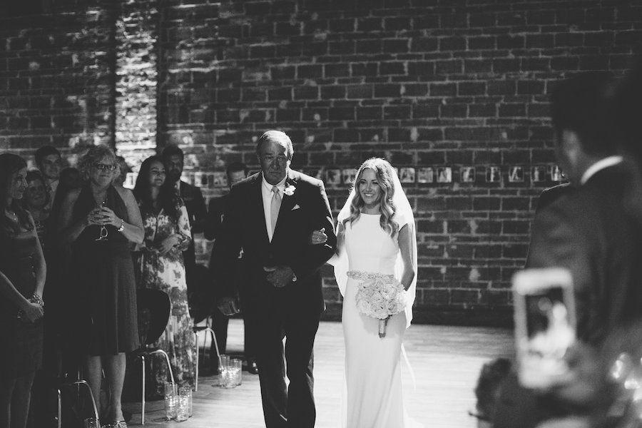 Bride and Father Walking Down the Aisle Wedding Portrait | Modern St. Petersburg Wedding Ceremony Venue NOVA 535