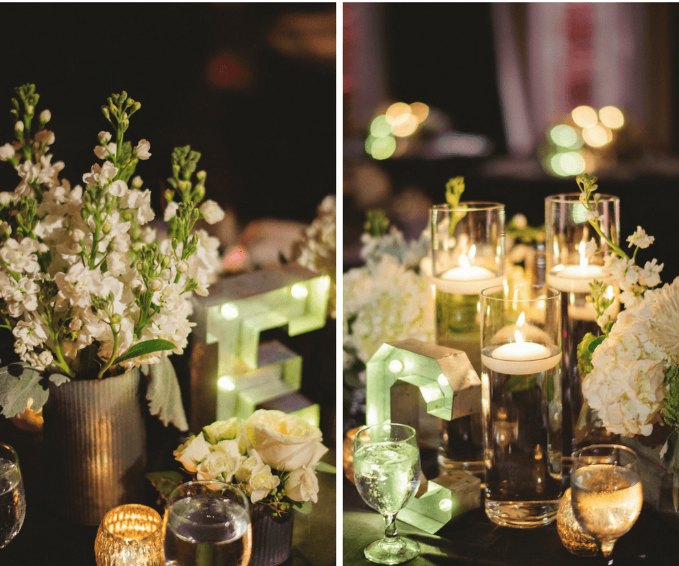 Ivory Flowers and Floating Candle Centerpieces with Lighted Marquee Letters