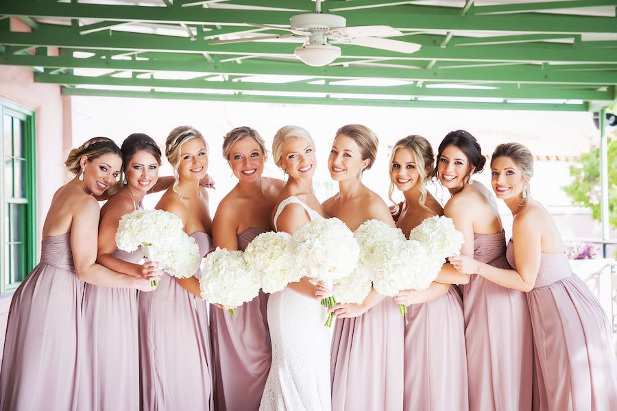 Bridal Party Wedding Portrait with Dusty Rose Watters Bridesmaids Dresses and Ivory Mikaella Wedding Dress | St. Petersburg Wedding Venue Nova 535