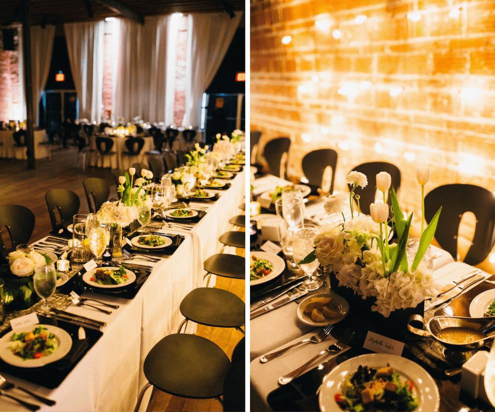 Black, White and Gold Wedding Reception Decor with White Hydrangea Centerpieces