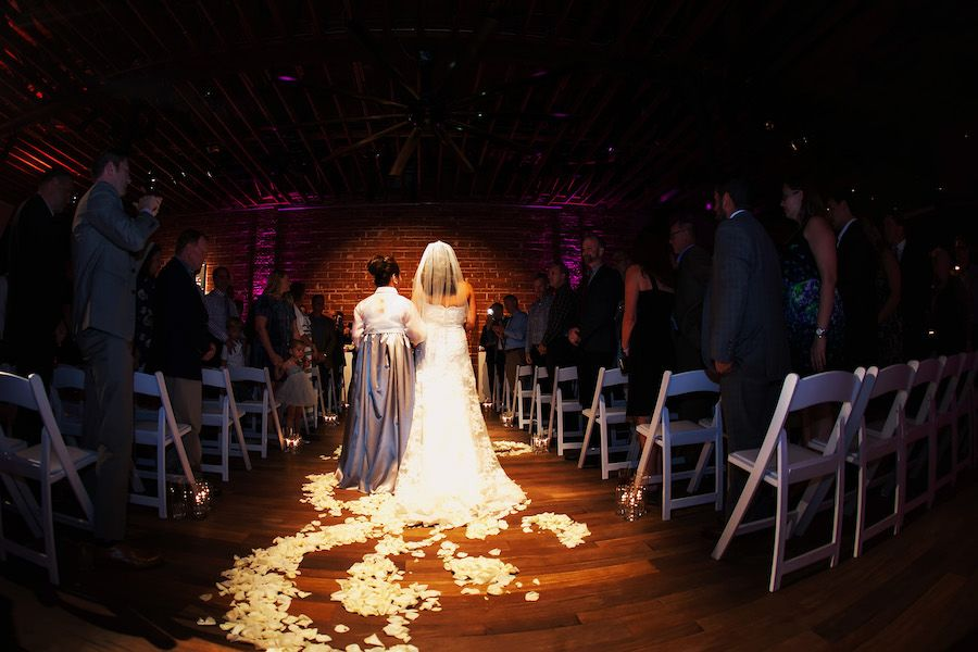 Bride Walking Down Aisle at Indoor Wedding Ceremony | Downtown St. Pete Wedding Venue NOVA 535