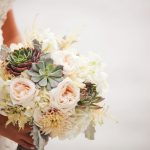 Elegant Bridal Wedding Bouquet with Blush and Ivory Roses and Succulents