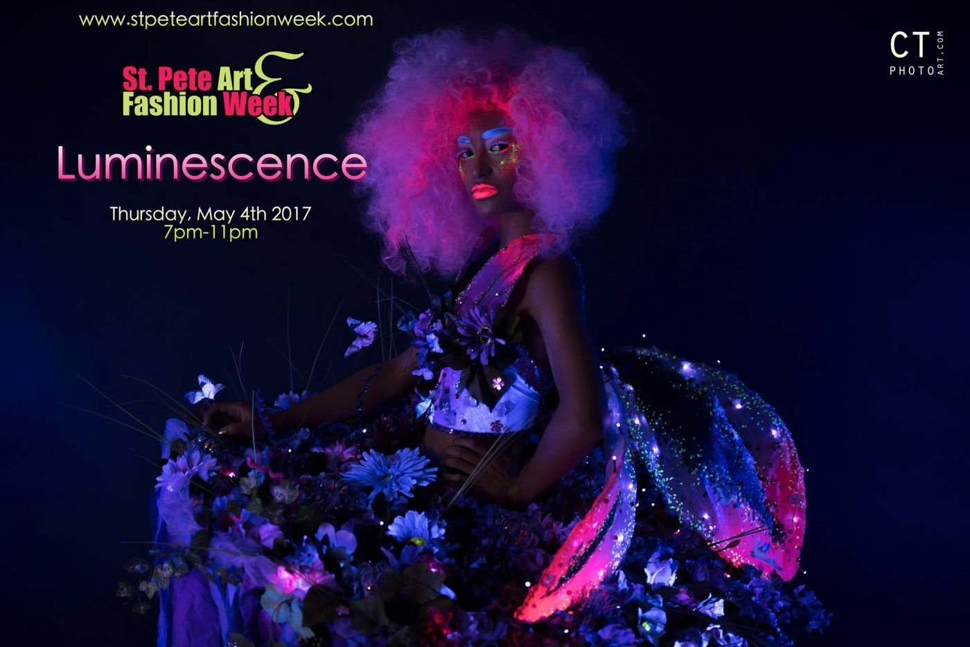 2017 05-04 St. Pete Art Fashion Week Blacklight Fashion and Art Experience show Luminescence at DTSP venue NOVA 535 flyer