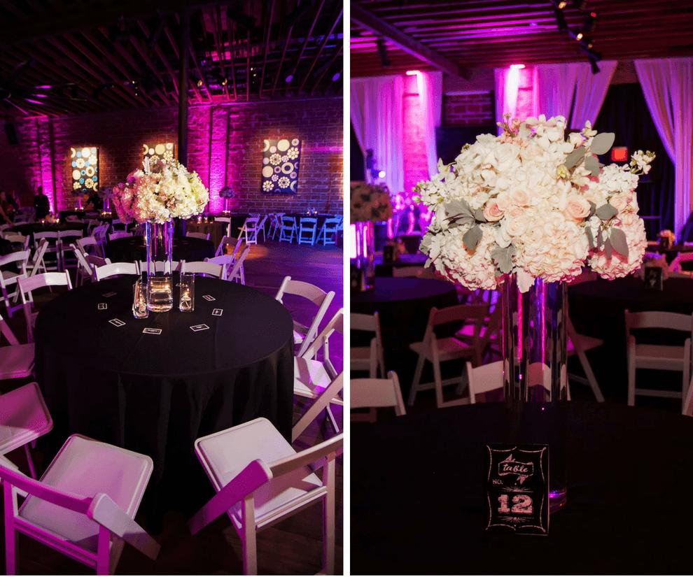 Romantic Wedding Reception Decor with Tall Ivory White Hydrangea Centerpieces and Purple Uplighting | Modern Unique Downtown St. Pete Wedding Venue NOVA 535