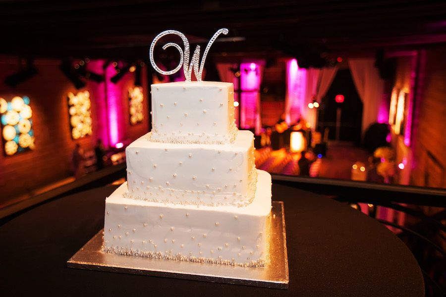 3-Tier Square Wedding Cake with Monogram Initial Cake Topper | Modern Unique Downtown St. Pete Wedding Venue NOVA 535