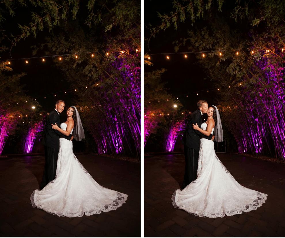 Romantic Bride and Groom Outdoor Bamboo Garden Wedding Portrait | Modern Unique Downtown St. Pete Wedding Venue NOVA 535