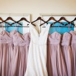 Bridal Party Dusty Rose Watters Bridesmaids Dresses | Ivory Sleeveless Mikaella Wedding Dress