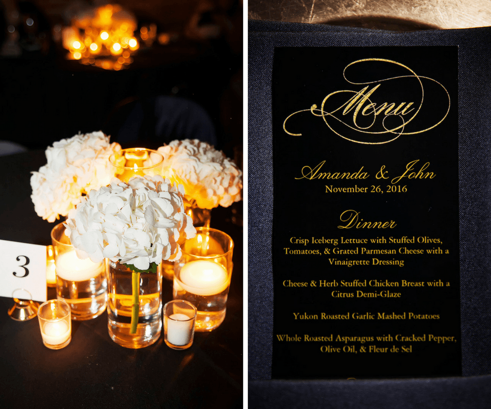 Ivory and Gold Wedding Reception Menu at St. Petersburg Wedding Venue NOVA 535